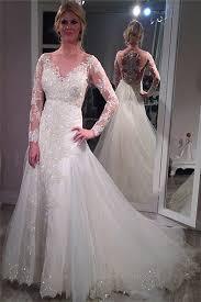 Long Sleeve Wedding Dresses Sheer Scoop Long Sleeve Wedding Dress Sparkly Lace Court Train