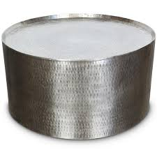 silver drum coffee table silver hammered metal industrial round coffee table