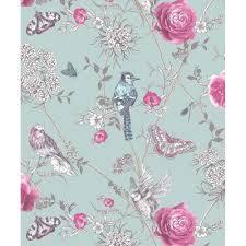 glitter wallpaper with butterflies arthouse fantasia paradise garden mint birds and butterflies floral