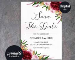 digital save the date printable save the date template card floral save the date