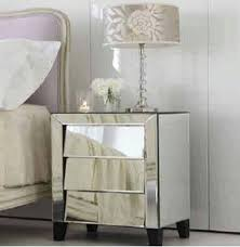 Silver Nightstand Ls Deco Silver Mirrored Nightstand With 3 Angled Drawers From