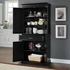 Tall Kitchen Pantry Cabinet Furniture Furniture Black Stained Oak Wood Short Narrow Pantry Cabinet With