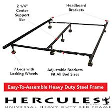 hercules universal heavy duty adjustable metal bed frame with