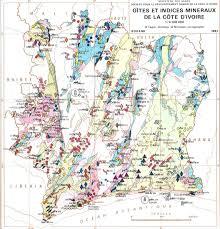 Ivory Coast Map Gites Et Indices Mineraux De La Cote D U0027ivoire
