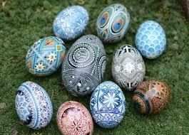 egg ornament pysanka ukrainian easter egg painted blue egg ornament with