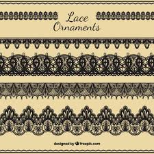draw lace ornaments set vector free