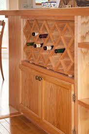 custom oak wine rack built by frederick potter of calgary custom