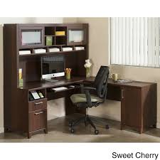 overstock l shaped desk achieve l shaped desk with hutch free shipping today overstock for