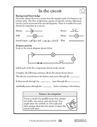 5th grade science worksheets parts of an electrical circuit