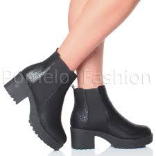 ladies ankle biker boots womens ladies flat block chunky heel platform elastic ankle biker
