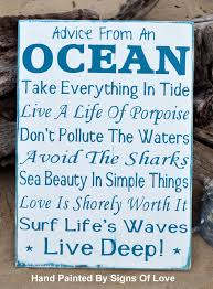 Love And Ocean Quotes by Advice Ocean Wood Sign Beach House Decor Coastal Nautical