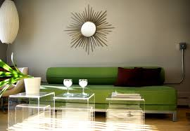 living room ideas with green sofas studio white wall mirror sun