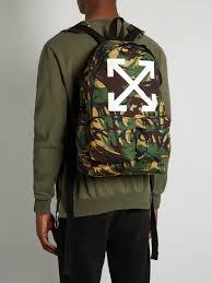 white arrows cotton backpack mens tonal green designer