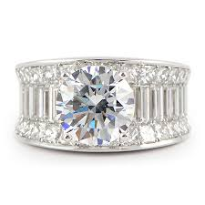 wide band engagement rings wide band engagement ring w baguette princess cut diamonds
