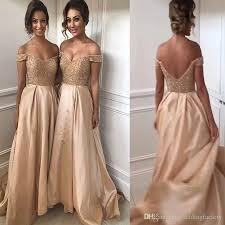2017 bridesmaid dresses champagne gold maid of honor dresses