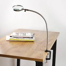 Desk Light With Magnifying Glass Lamp Magnifier Flexible Neck Magnifying Desk Table Clamp Plastic