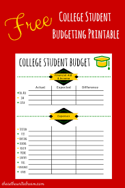 college budget template free printable for students college