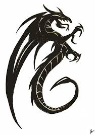 dragon drawings black and white clip art library