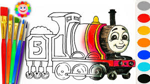 coloring with thomas and fiends how to draw james the red engine