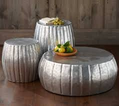 silver barrel side table my house minimalist with hammered metal coffee table