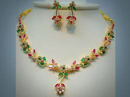 pink necklace set images Necklace set earrings pink green flower stone necklace set with jpg