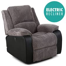 Fabric Recliner Chair Postana Jumbo Cord Fabric Power Recliner Armchair Electric Sofa