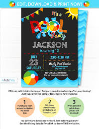 office depot invitations printing pool party invitation swimming pool birthday party pool