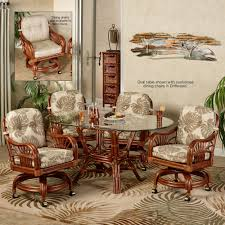 Dining Room Sets With Wheels On Chairs Leikela Rattan Tropical Dining Furniture Set