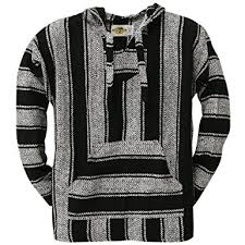 baja sweater mens amazon com black stripe woven baja hoodie clothing