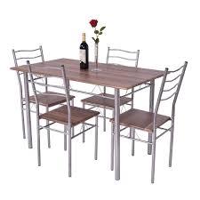 kitchen breakfast table costway 5 piece dining table set wood metal kitchen breakfast