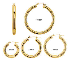 gold hoop earings hoop earrings 4mm 4 sizes 4129