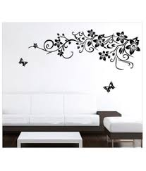 wall stickers for bedrooms snapdeal wall stickers cafe eat and black vinyl floral with flowers led backdrop tv wall sticker