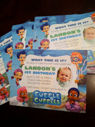 renae stamps bubble guppies 1st birthday invitations