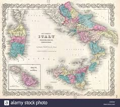 Map Of Sicily Italy by 1855 Colton U0027s Map Of Southern Italy Sicily Sardinia And Malta