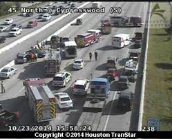 Houston Transtar Map Accidents On I 45 Us 290 Jamming Rush Hour Traffic Houston