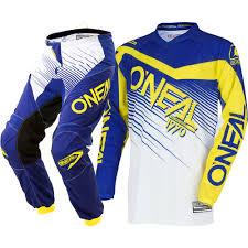 cheap motocross gear packages new oneal 2018 mx element blue yellow jersey pants dirt bike
