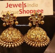 big jhumka gold earrings jhumkas jewelry designs jewellery designs