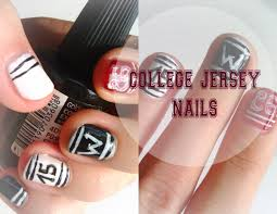 cool easy college jersey nail art or back to nails youtube
