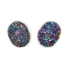 glitter stud earrings drusy silver stud earrings rocks2love