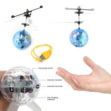 2pk flying ball helicopter toy led light up rc style induction
