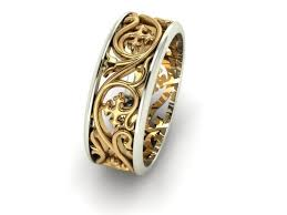 3d print model wedding band with floral ornament