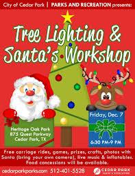 lighted santa s workshop advent calendar tree lighting santa s workshop city of cedar park texas