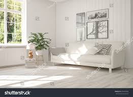 white room sofa green landscape window stock illustration