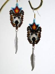 Ruby Red Long Brick Stitch Brown Bear Earrings Native American Inspired Brick Stitch