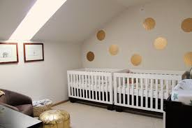 Tribeca Convertible Crib by Shannonigans The Twins U0027 Nursery With Gold Circle Decals And Twin
