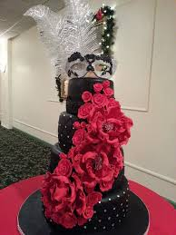 classic masquerade or sweet 16 cake love the colors black red