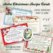 digital christmas cards retro christmas recipe cards printable recipe cards digital
