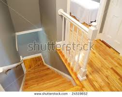 Refinish Banister Refinished Wooden Floor Steps Stairway White Stock Photo 24519652