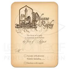 fairy tale wedding rsvp card medieval castle once upon a time