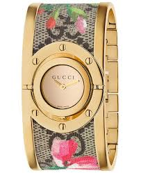 bangle bracelet watches images Gucci women 39 s swiss twirl gold tone and gg supreme floral print tif